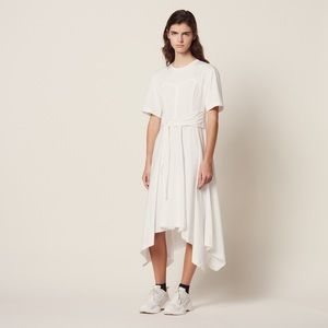 SANDRO LONG ASYMMETRICAL JERSEY DRESS